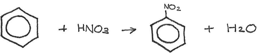 Nitration of benzene reaction.