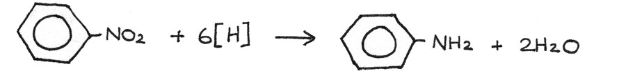 Hydration of nitrobenzene to phenylamine.