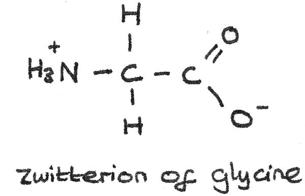 Zwitterion of glycine.